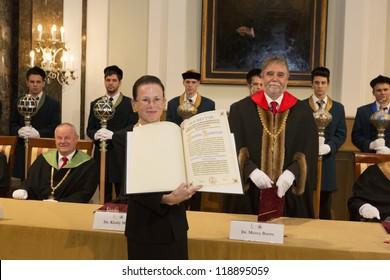 BUDAPEST, HUNGARY - NOVEMBER 9: Dr. Harriet Zuckerman, professor of Columbia University on the ceremony honoring as Doctor honoris causa by ELTE senat on November 9, 2012 in Budapest, Hungary.