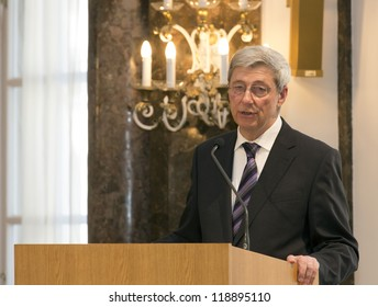 BUDAPEST, HUNGARY - NOVEMBER 9: Dr. Reinhard Olt, correspondent of the Frankfurter Allgeimeine Zeitung speaks on the ceremony honoring as Doctor honoris causa by ELTE on Nov. 9, 2012 in Budapest.