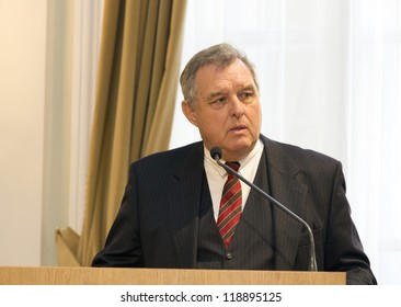 BUDAPEST, HUNGARY - NOVEMBER 9: Dr. Wilhelm Brauneder, professor of University Wien speaks on the ceremony  honoring as Doctor honoris causa on November 9, 2012 in Budapest, Hungary.