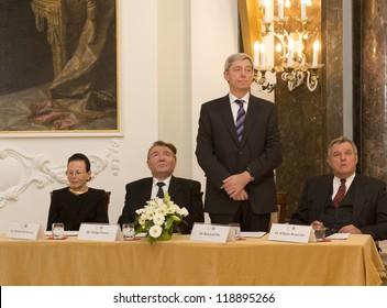 BUDAPEST, HUNGARY - NOVEMBER 9: Dr. Reinhard Olt, correspondent of the Frankfurter Allgeimeine Zeitung on the ceremony  honoring as Doctor honoris causa on November 9, 2012 in Budapest, Hungary