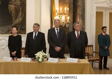 BUDAPEST, HUNGARY - NOVEMBER 9: Professors of EU Universities on the ceremony  of honoring as Doctor honoris causa by ELTE University on November 9, 2012 in Budapest, Hungary.