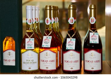 Budapest, Hungary - Oct 10, 2010:   Famous hungarian Tokaji wines in bottles