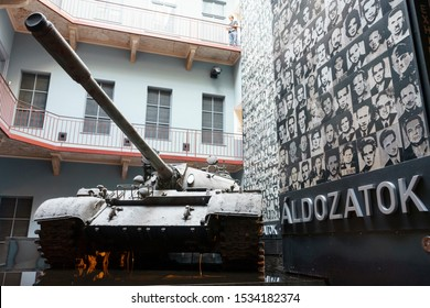 Budapest, Hungary - Oct 15, 2019: A T-54 tank exhibited in The House of Terror Museum, Budapest , Hungary