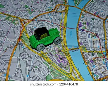 Budapest, Hungary - Oct 16, 2018: Car on the city map of Budapest. Map text in Hungary language. Travel planning map. Tourist route.