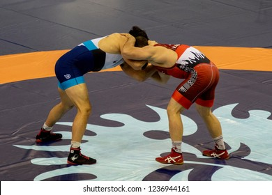 Budapest Hungary Oct 20 2018: Man World Wrestling Championship pre selection where many nations best meets for the final.
