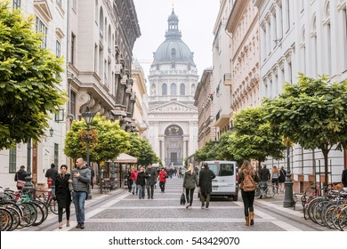 BUDAPEST, HUNGARY - Oct 2016: Street View and St Stephen's Basilica