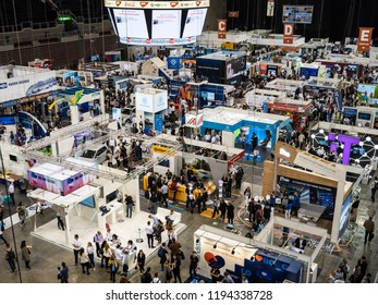 BUDAPEST, HUNGARY, OCTOBER 03, 2018 - People walk around the boothes at HVG Job Fair, the biggest job fair event in Hungary