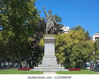 BUDAPEST, HUNGARY - OCTOBER 1, 2015: Monument to Sandor Petofi, the Hungary's national poet and liberal revolutionary. The monument by sculptors Miklos Izslo and Huszar Adolf was unveiled in 1882.