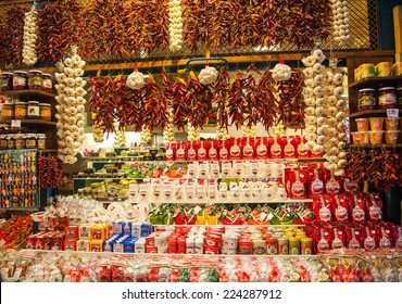 BUDAPEST. HUNGARY - October 10: Hungarian Paprika for sale at the Great Market Hall on October 10, 2014 in Budapest.Hungary
