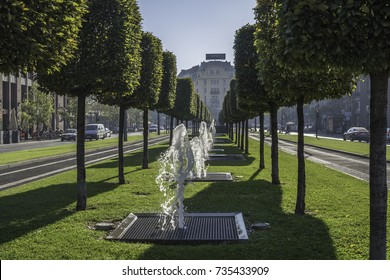 BUDAPEST, HUNGARY - OCTOBER 11, 2017: Street fountains with decorative trees in Budapest