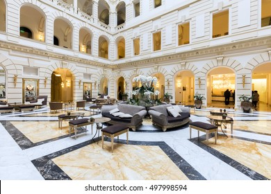 BUDAPEST, HUNGARY - OCTOBER 13, 2016: Reception of luxury Boscolo Hotel in the New York Palace originally built in 1894.