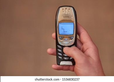BUDAPEST, HUNGARY - OCTOBER 13, 2017: Classic game Snake II being played on a Nokia 6310i cellphone