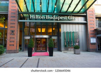 Budapest, Hungary - October 13, 2018: Hilton Budapest City Hotel entrance in Westend City Center on Váci street.