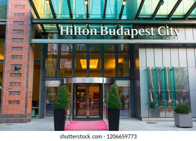 Budapest, Hungary - October 13, 2018: Hilton Budapest City Hotel entrance close up in Westend City Center on Váci street.
