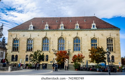 Budapest, Hungary, October 14, 2017: House of the Hungarian Culture Foundation. Trinity Square, Buda's Castle District.