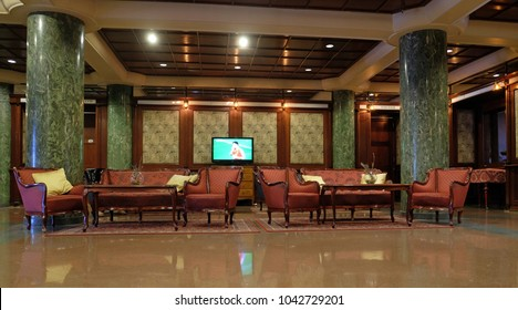 BUDAPEST, HUNGARY - OCTOBER 14: Hotel lobby in Danubius Health Spa Resort Margitsziget in Budapest, Hungary, on October 14, 2017.