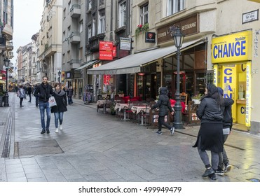BUDAPEST, HUNGARY - OCTOBER 15, 2016: People visit Vaci Street in Budapest. 3.3 million people live in Budapest Metropolitan Area. It is the largest city in Hungary and 9th largest in the EU.