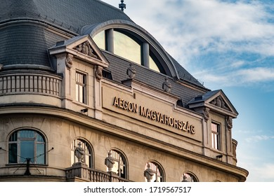 Budapest / Hungary - October 20, 2018: Old historic building of Aegon Magyarorszag, Hungary general insurance company in Budapest, Hungary