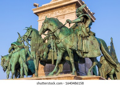 BUDAPEST, HUNGARY - OCTOBER, 2019: Beautiful monuments at Heroes Square in Budapest on a sunny day