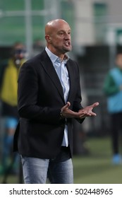 BUDAPEST, HUNGARY - OCTOBER 22, 2016: Head coach Marco Rossi of Budapest Honved instructs his team during Ferencvaros v Budapest Honved OTP Bank Liga match at Groupama Arena.