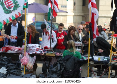 BUDAPEST, HUNGARY - OCTOBER 22: Unidentified people participate the demonstration against the social politics of Hungarian government before the Parliament on October 22, 2006 in Budapest, Hungary.