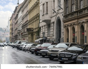 BUDAPEST, HUNGARY - OCTOBER 27, 2017: The streets of the city in the autumn.