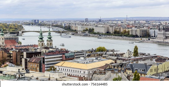 BUDAPEST, HUNGARY - OCTOBER 28, 2017: Panoramic view of the old town and the Danube River in autumn in Budapest, Hungary.
