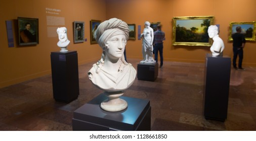 BUDAPEST, HUNGARY - OCTOBER 29, 2017: Collection of paintings and sculpture in Hungarian National Gallery in Buda Castle, former Royal Palace