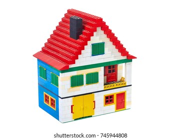 BUDAPEST, HUNGARY - OCTOBER 29, 2017: Lego house made of classic building blocks, white studio background
