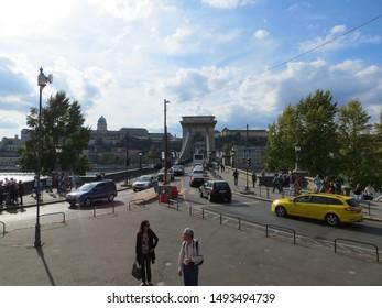 Budapest / Hungary - October 3, 2015: The Szechenyi Chain Bridge with Buda Castle in background, Budapest, Hungary.