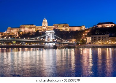 BUDAPEST, HUNGARY - OCTOBER 30, 2015: Chain bridge, Danube and Royal Palace in Budapest, Hungary. Night photo shoot. Tripod and long exposure.