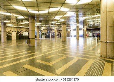 BUDAPEST, HUNGARY- OCTOBER 30 2016: The renovated metro and tram station on Fovam square in the downtown of Budapest.