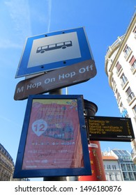 Budapest / Hungary - October 4, 2015: Hop on hop off tourist bus stop sign in Budapest, Hungary.
