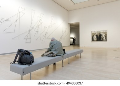 BUDAPEST, HUNGARY - OCTOBER 5, 2016: Interior of Ludwig Museum (lumu), founded in 1989. Museum of Contemporary Art collects and displays masterworks of modern and contemporary art.