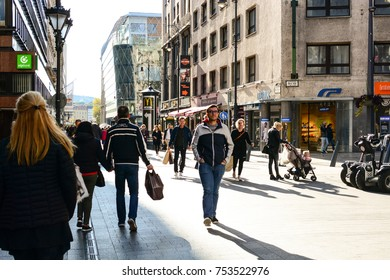Budapest, Hungary - October 7, 2017: lot of people walking by Fashion Street - the most prestigious shopping district in Budapest
