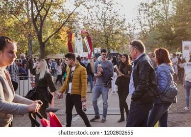 BUDAPEST, HUNGARY - OKTOBER 14, 2018: K rt skal cs Fesztiv l 2018. Bakers preparing and selling traditional hungarian pastry called kurtosh kallach in Budapest festival of Sekler cake on Oktober 12