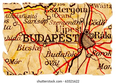 Budapest, Hungary on an old torn map from 1949, isolated. Part of the old map series.