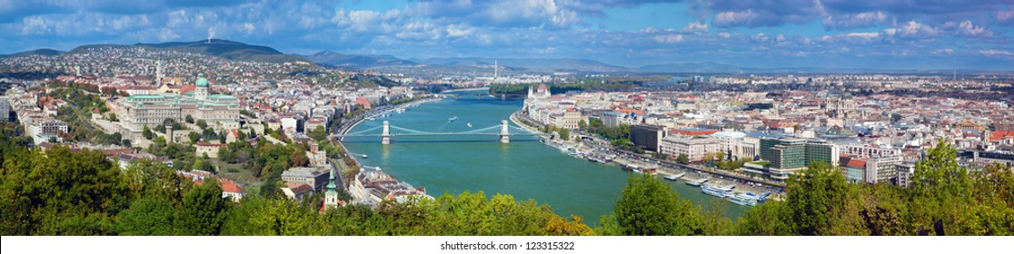 Budapest, Hungary panorama, Danube river. View from Gellert Hill