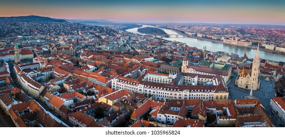 Budapest, Hungary - Panoramic aerial skyyline view of Budapest. This view includes Matthias Church, Fisherman's Bastion, Parliament of Hungary and Castle District at winter time