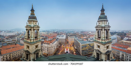 Budapest, Hungary - Panoramic skyline view of Budapest from the top of Saint Stephens Basilica aka Szent Istvan Bazilika at wintertime