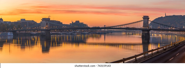 Budapest, Hungary - Panoramic skyline view of Budapest with the famous Szechenyi Chain Bridge at sunrise