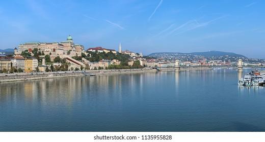 Budapest, Hungary. Panoramic view on Danube from Elisabeth Bridge. The main landmarks on the image are: Royal Palace, Matthias Church, Fisherman's Bastion and Szechenyi Chain Bridge.