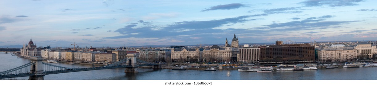 Budapest Hungary panoramic view over the city and river Danube