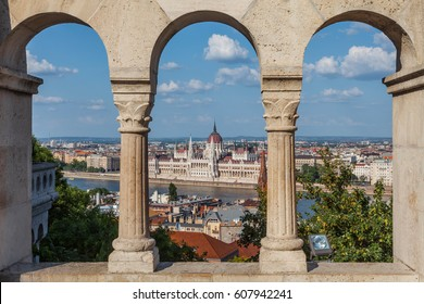 Budapest, Hungary - The Parliament Building and the Danube as Seen from the Buda Side