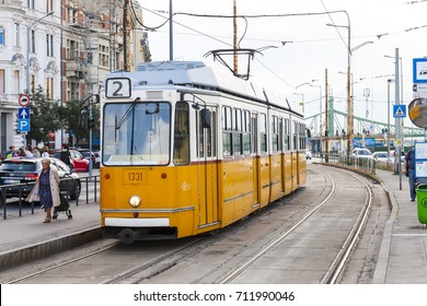 BUDAPEST HUNGARY -SEP 20: Famous yellow tramways in the streets on September 20, 2016 in Budapest. One of the most iconic images of the city