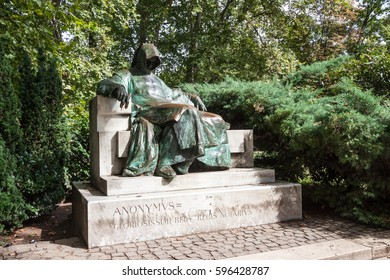 BUDAPEST HUNGARY -SEP 20:  Statue of anonymous scribe Anonymous on September 20, 2016 in Budapest.,located in the city park is an iconic element of the city of Budapest