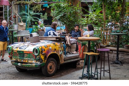 BUDAPEST HUNGARY -SEP 20: Szimpla Kert the most famous and well-known Ruin-bar of the city on September 20, 2016 in Budapest. One of the places of fashion and trend of the resurgimiuento of the city