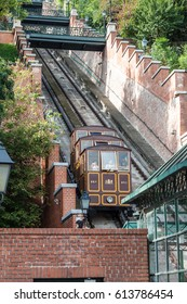 BUDAPEST HUNGARY -SEP 22: Famous funicular (Cable Car) on the Castle Hill on September 22, 2016 in Budapest. One of the most iconic images of the city