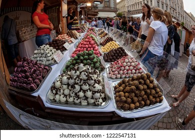 Budapest Hungary Sept 14 2018: Chocolate  festival held anualy in downtown. It's all about chocolate.
