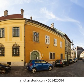 BUDAPEST HUNGARY SEPT 27 2016: Historical old city in Castle Buda is listed by UNESCO as a World Heritage site,and was first completed in 1265. The Castle District is full of history.  Panoramic Image